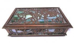 Tiffany Studios Bronze Grapevine Stain Glass Box