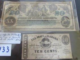 South Carolina $20 Bond Note & 10 Cent Confed