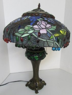 """Dragonfly Stained Glass Lamp 28"""" Tiffany Style"""