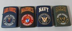 4 Zippo Lighters Army Navy Air Force Marine 1999 Nib