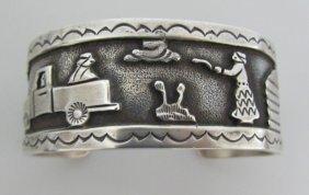 Becenti Cuff Bracelet Sterling Silver Storyteller