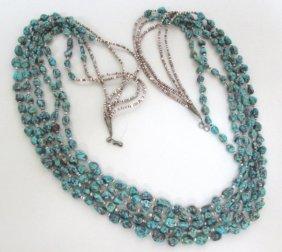 "Santo Domingo Heishi Turquoise Necklace Zuni 30"""