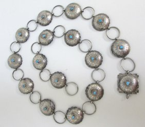 """41"""" Turquoise Concho Belt Sterling Silver 147gr"""