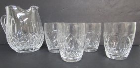 Waterford Pitcher Cut Crystal & 4 Glasses
