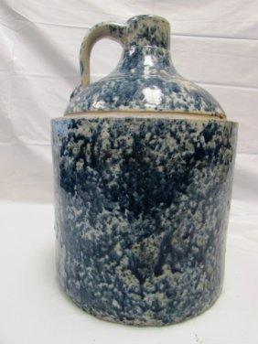 "Crock Jug Pottery Blue & White 13"" Tall, 9"" Wide"