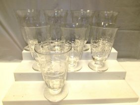 8 Crystal Glasses Etched Glass Floral