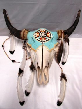 Bull Skull Native American Painted W Feathers