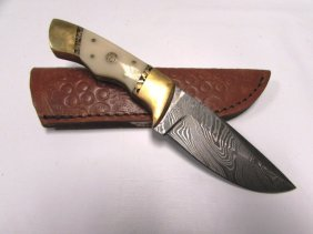 New Style Damascus Knife & Sheath Custom Bone