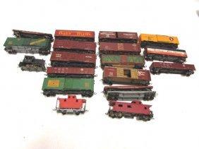 Toy Train Lot Cars Engine 17 Pc Vintage