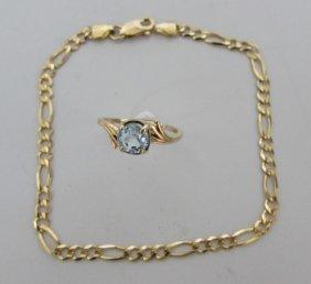 "10k Yellow Gold Figaro Bracelet 8"" & Aqua Ring"