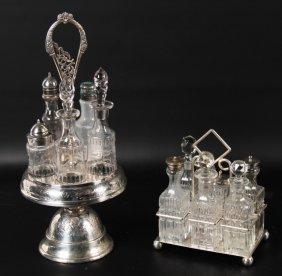 2 English Victorian Silver Plated Cruet Sets