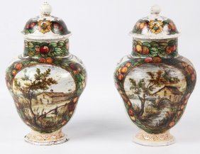 Pair Of Glazed Italian Faience Capped Jars