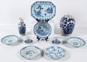 12 Piece Misc. Lot Of Early Blue And White Chinese