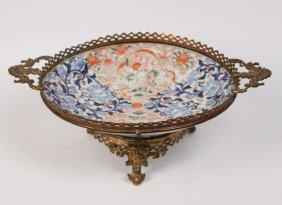 Bronze Mounted Japanese Imari Footed Bowl