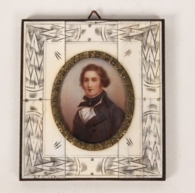 Miniature Framed Portrait Of Young Man