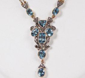 18k Yellow Gold Aquamarine And Diamond Necklace