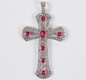 18k Gold Ruby And Diamond Cross Pendant