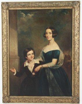 Large Georgian Oil On Canvas Portrait