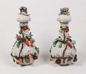 Pair Of German Schneeballen Meissen Capped Urns
