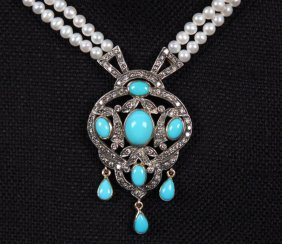 18k Gold Pearl, Diamond And Turquoise Necklace