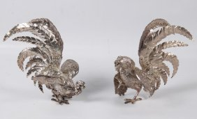 Pair Of Silver Rooster And Hen Formed Table Ornaments