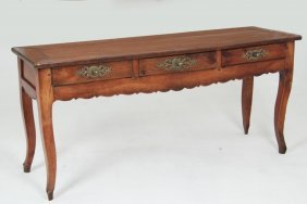 18th C Provincial Louis Xv Carved Cherry Table/buffet
