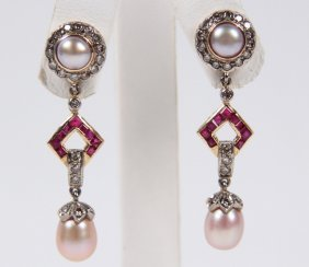 Pair Of 18k Yellow Gold Pearl, Diamond And Ruby