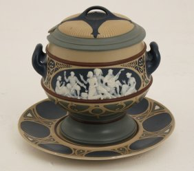 Mettlach Porcelain Covered Tureen And Underplatter