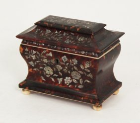 Tortoiseshell And Mother Of Pearl Inlaid Tea Caddy