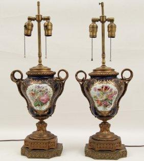 Pair Of Cobalt Ground Sevres Style Porcelain Urns