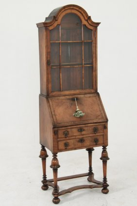 Petite William & Mary Style Wanut Bureau Bookcase