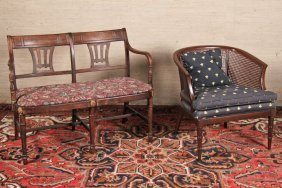 Regency Settee And Mahogany Arm Chair