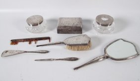 6 Piece Sterling Silver Dress Set, Comb, And Covered