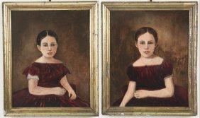 Pair Of Primitive Oil On Artist Board Paintings