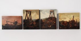 4 Small Signed Oil On Composite Board Paintings