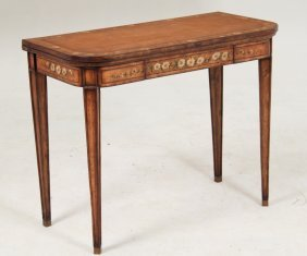 English Painted And Inlaid Satinwood Games Table