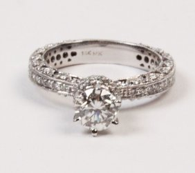 14k White Gold Pave 0.90 Ct Diamond Solitaire Ring