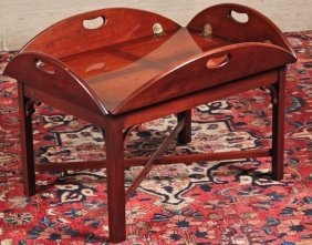 English Mahogany Butlers Tray Coffee Table