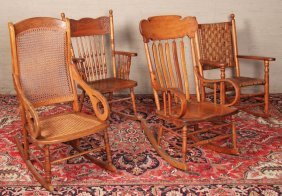 Group Of 4 American Oak And Cherry Rocking Chairs