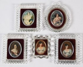 Group Of 5 Glass Framed Oval Portrait Miniatures