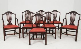 Set Of 6 & 2 Sheraton Design English Mahogany Chairs