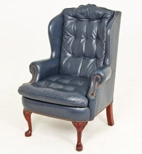 Blue Tufted Leather Wing Chair By Classic Leather