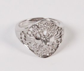 14k White Gold Diamond Lady's Ring