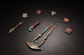 Group Of Eight Tibetan Coral And Turquoise Ornaments