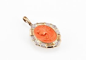 Orange Coral Westerner Lady And Diamond Pendant