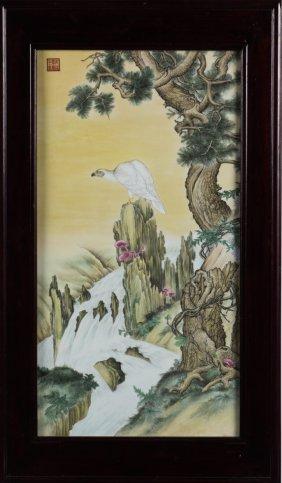 Famille Rose Porcelain Plaque 'eagle'