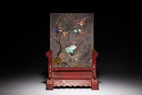 Applique Inlaid Ink Stone Table Screen