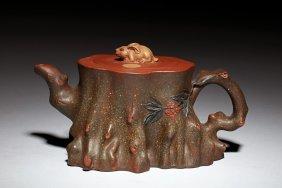 Yixing Zisha 'tree Trunk' Teapot