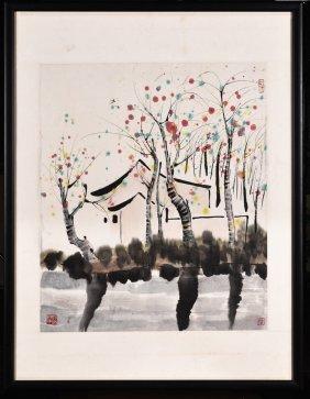 Framed Ink And Color On Paper 'landscape' Painting