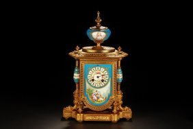 Antique French Gilt And Enameled Mantle Clock